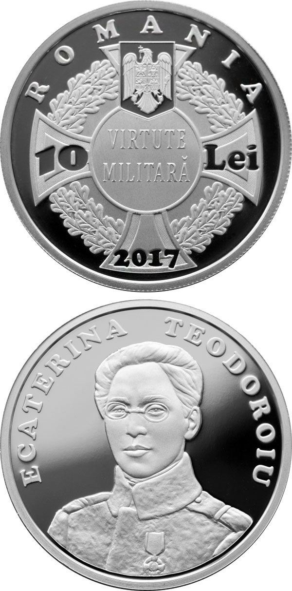 Image of 10 leu coin - 100 years since Ecaterina Teodoroiu became the first female combat officer of the Romanian Army | Romania 2017.  The Silver coin is of Proof quality.