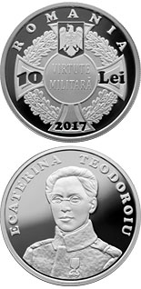 10 leu coin 100 years since Ecaterina Teodoroiu became the first female combat officer of the Romanian Army | Romania 2017