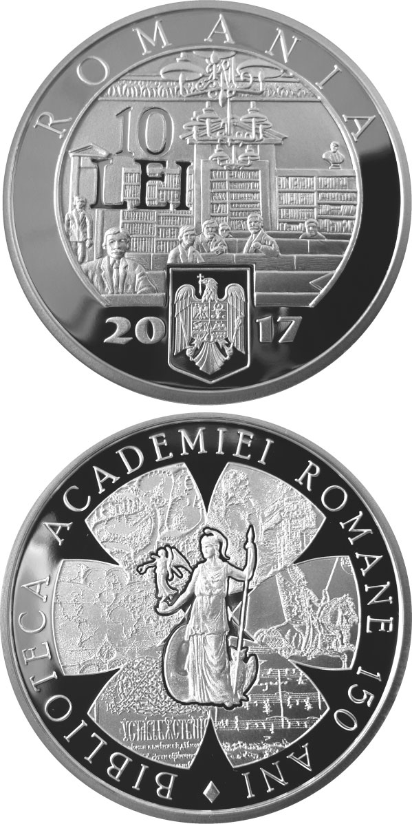 Image of 10 leu coin - 150 years since the establishment of the Library of Romanian Academy | Romania 2017.  The Silver coin is of Proof quality.
