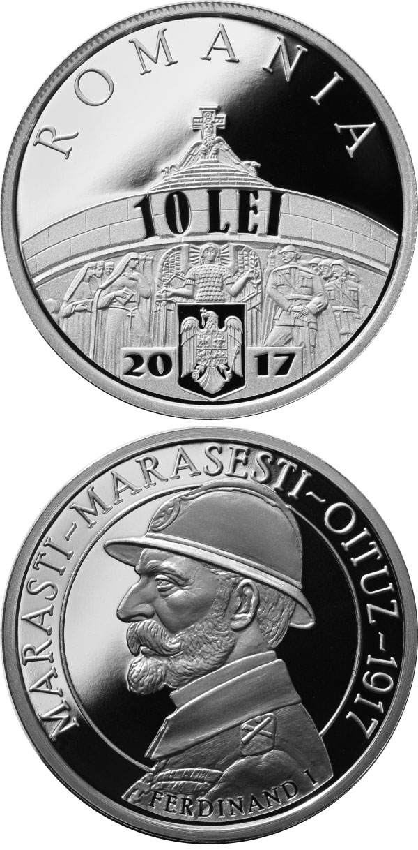 Image of 10 leu coin 100 years since the Romanian Army's victories at Mărăşti, Mărăşeşti and Oituz | Romania 2017.  The Silver coin is of Proof quality.