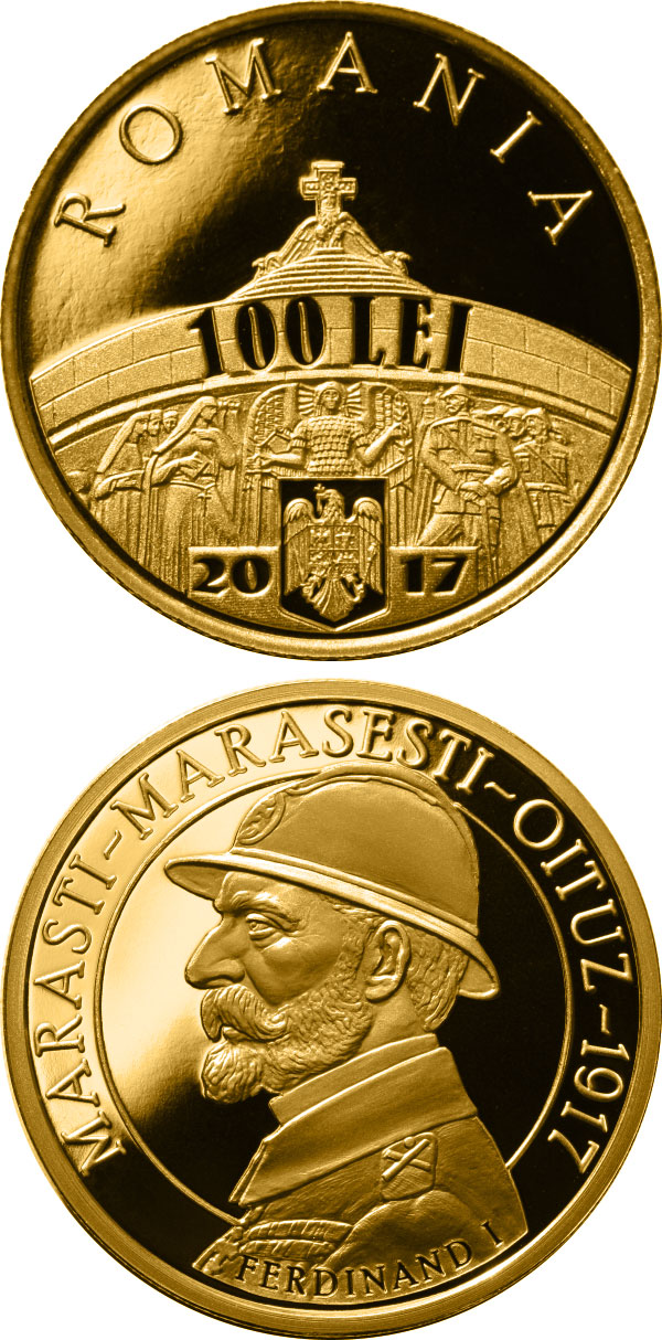 Image of 100 leu coin - 100 years since the Romanian Army's victories at Mărăşti, Mărăşeşti and Oituz | Romania 2017.  The Gold coin is of Proof quality.