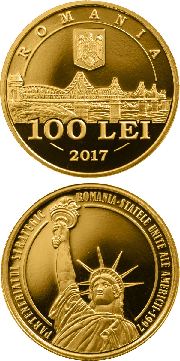 Image of 100 leu coin - 20 years since the launch of the strategic partnership between Romania and the USA | Romania 2017.  The Gold coin is of Proof quality.
