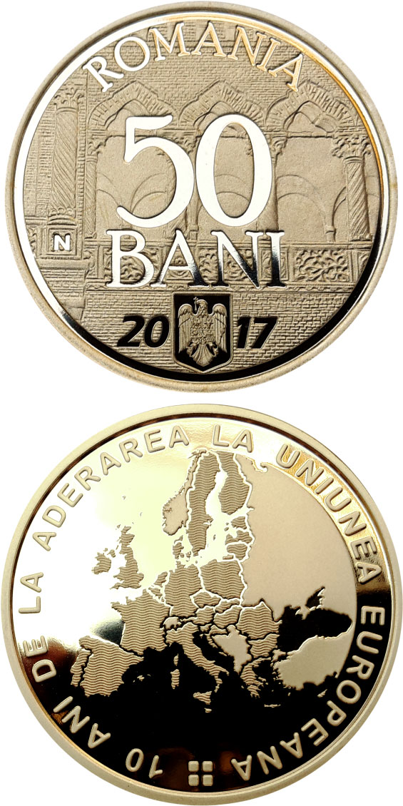 Image of 50 bani coin - 10 years since Romania's accession to the European Union | Romania 2017.  The Bronze coin is of Proof, BU, UNC quality.