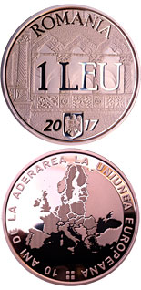 1 leu coin 10 years since Romania's accession to the European Union | Romania 2017