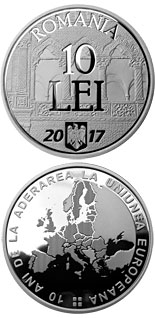 10 leu coin 10 years since Romania's accession to the European Union | Romania 2017