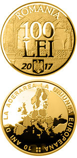 100 leu coin 10 years since Romania's accession to the European Union | Romania 2017