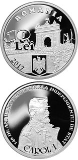 10 leu coin 140 years since the proclamation of Romania's independence | Romania 2017