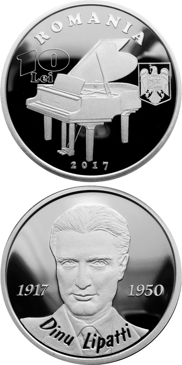 Image of a coin 10 lei | Romania | 100 years since the birth of Dinu Lipatti | 2017