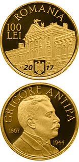100 leu coin 150 years since the birth of Grigore Antipa | Romania 2017