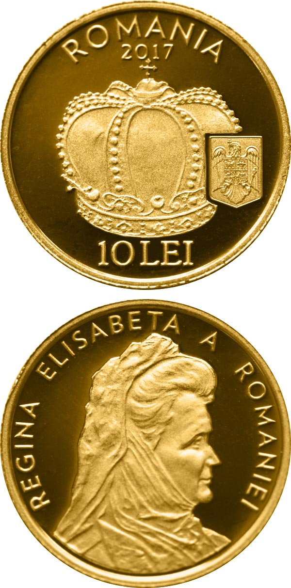 Image of 10 leu coin - The Crown of Queen Elisabeta of Romania | Romania 2017.  The Gold coin is of Proof quality.