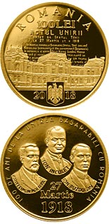 100 leu coin 100 years since the union of Bessarabia with Romania | Romania 2018