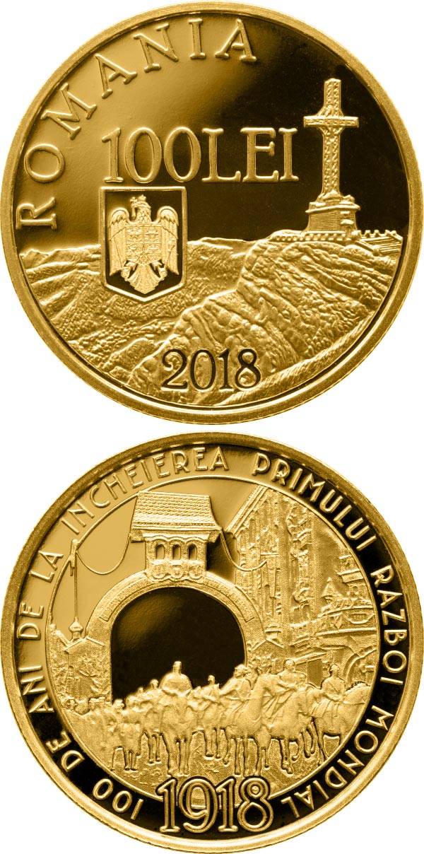 Image of 100 leu coin – 100 years since the end of World War I | Romania 2018.  The Gold coin is of Proof quality.