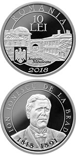 10 leu coin 200 years since Ion Ionescu de la Brad's birth | Romania 2018