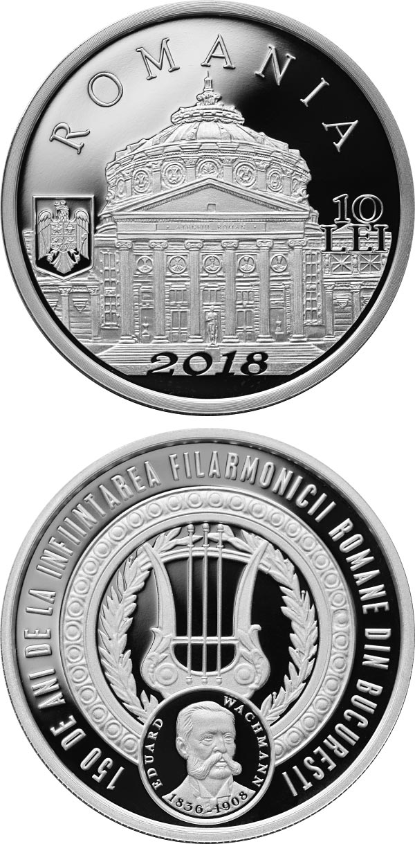 Image of 10 leu coin - 150 years since the founding of the Romanian Philharmonic Orchestra in Bucharest | Romania 2018.  The Silver coin is of Proof quality.