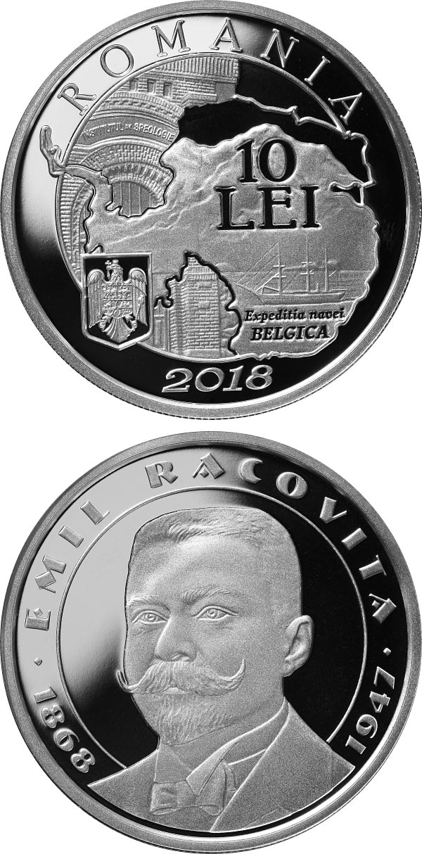 Image of 10 leu coin – 150 years since the birth of Emil Racoviță | Romania 2018.  The Silver coin is of Proof quality.