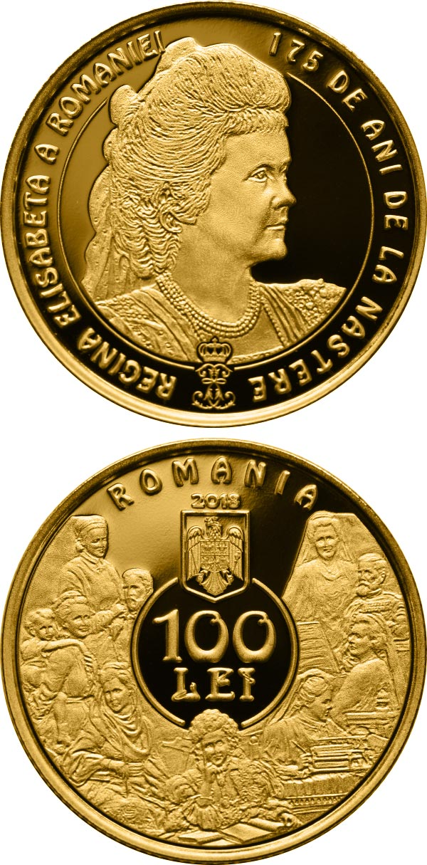 Image of 100 leu coin – 175 years since the birth of Queen Elisabeta of Romania | Romania 2018.  The Gold coin is of Proof quality.