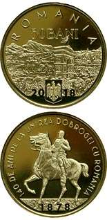 50 bani coin 140 years since the union of Dobruja with Romania | Romania 2018