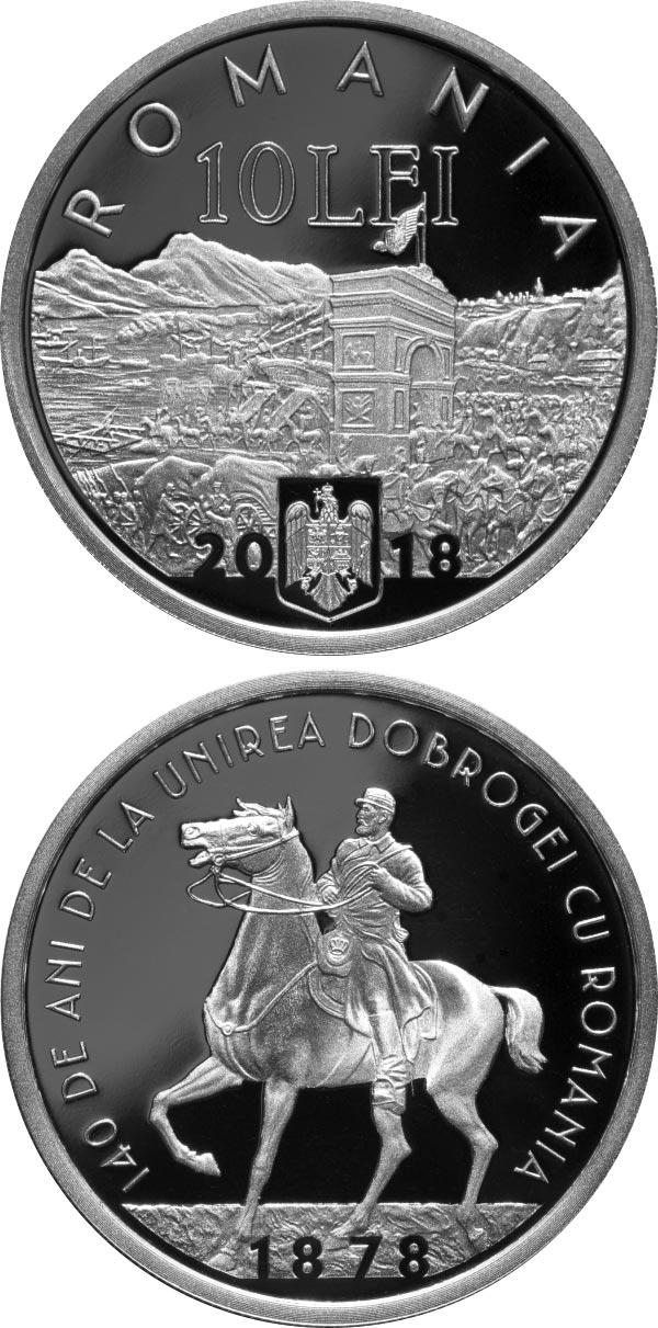Image of 10 leu coin - 140 years since the union of Dobruja with Romania | Romania 2018.  The Silver coin is of Proof quality.
