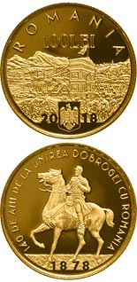100 leu coin 140 years since the union of Dobruja with Romania | Romania 2018