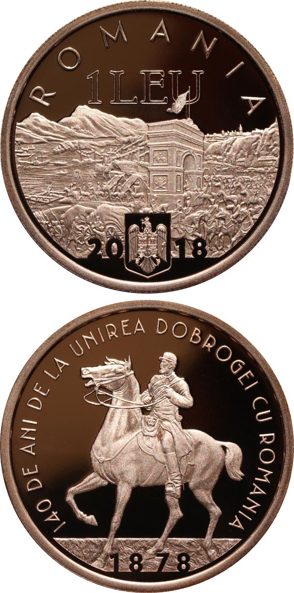 Image of 1 leu coin - 140 years since the union of Dobruja with Romania | Romania 2018.  The Copper coin is of Proof quality.