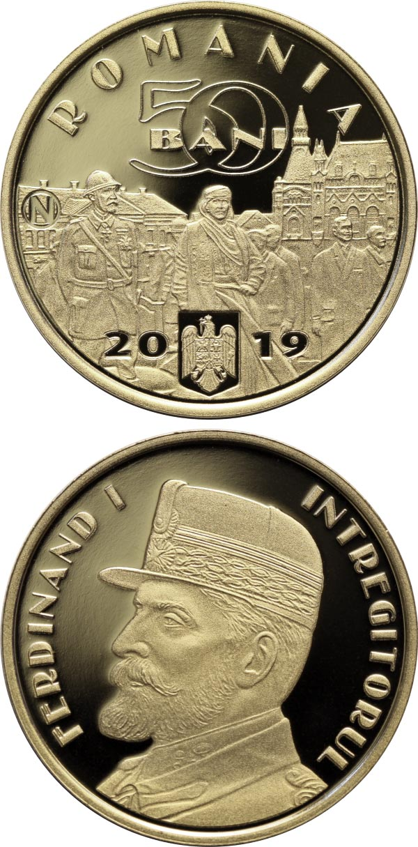 Image of 50 bani coin - King Ferdinand I, the Unifier | Romania 2019.  The Bronze coin is of Proof quality.