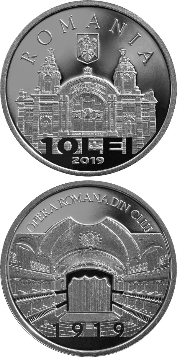 Image of 10 leu coin - 100 years since the establishment of the Romanian Opera in Cluj | Romania 2020.  The Silver coin is of Proof quality.
