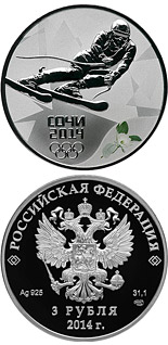 3 ruble coin Alpine Skiing  | Russia 2011