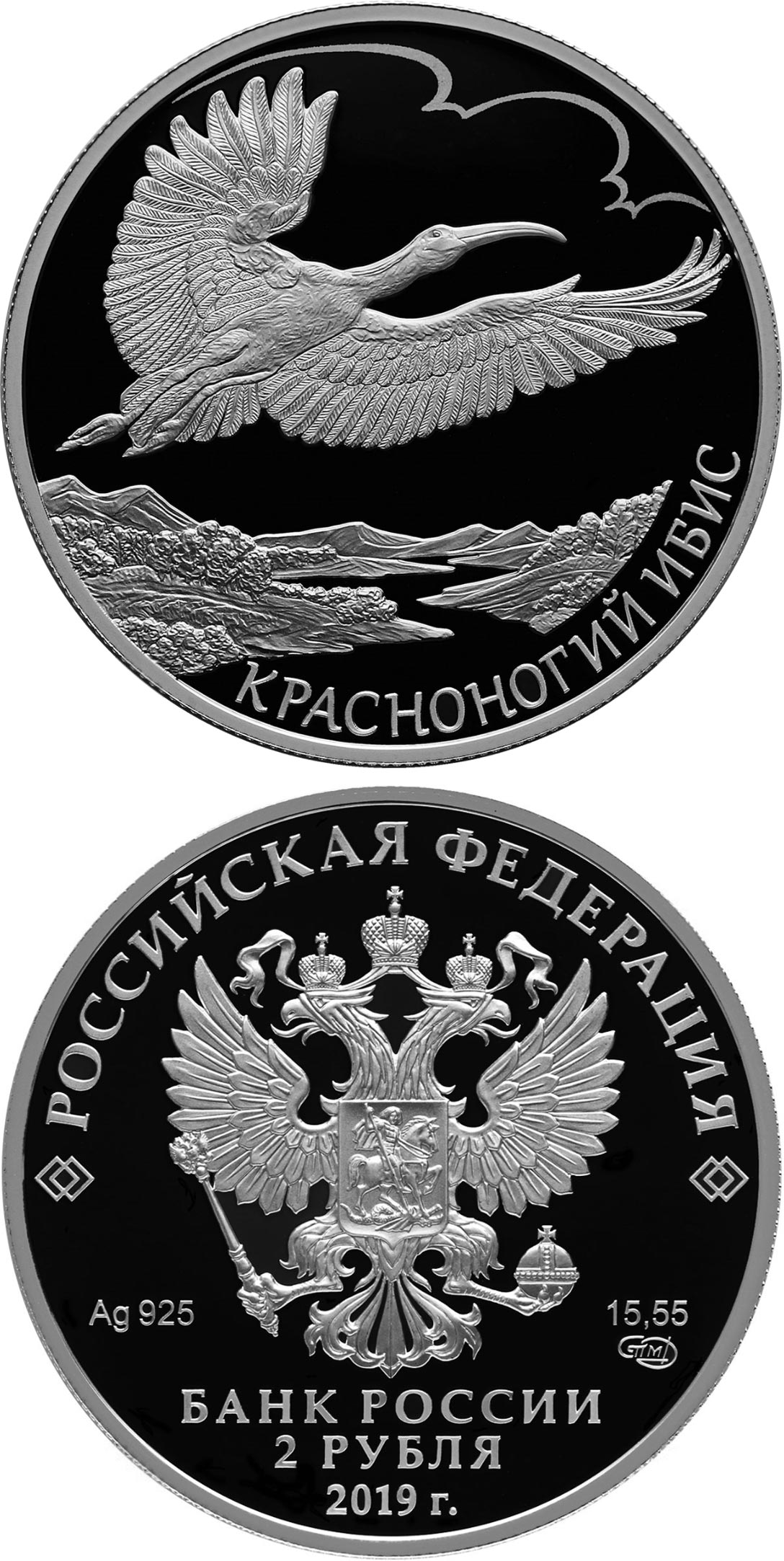 Image of 2 rubles coin - Japanese Crested Ibis | Russia 2019.  The Silver coin is of Proof quality.