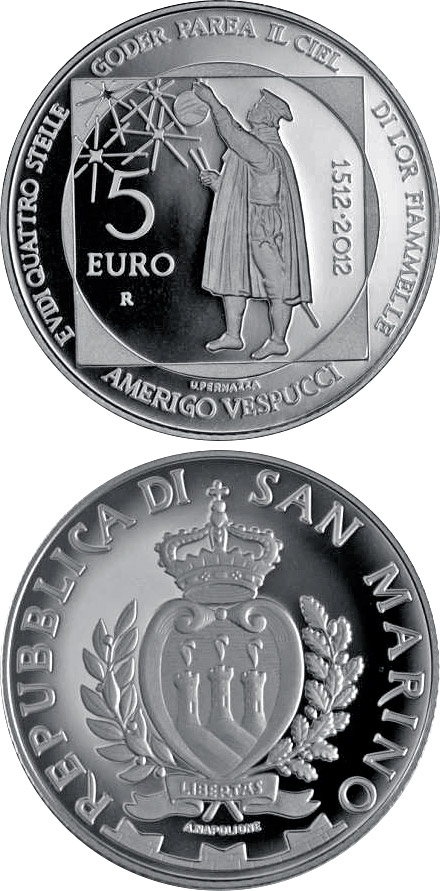 Image of 5 euro coin - 500th Anniversary of the Death of Amerigo Vespucci | San Marino 2012.  The Silver coin is of Proof quality.