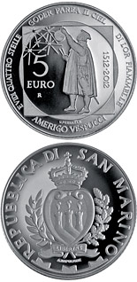 5 euro coin 500th Anniversary of the Death of Amerigo Vespucci | San Marino 2012
