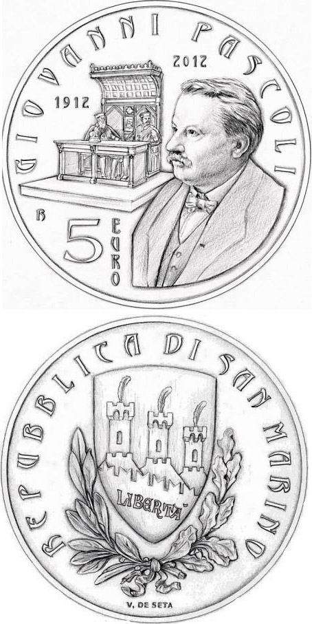 Image of 5 euro coin - 100th Anniversary of the Death of Giovanni Pascoli | San Marino 2012.  The Silver coin is of BU quality.