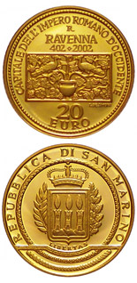 20 euro coin 1600th Anniversary of the Proclamation of Ravenna as Capital of the Western Roman Empire  | San Marino 2002