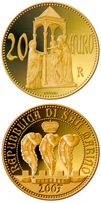 Image of 20 euro coin - The Scrovegni Chapel by Giotto | San Marino 2003.  The Gold coin is of Proof quality.