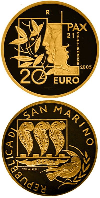 Image of 20 euro coin - International Day of Peace | San Marino 2005.  The Gold coin is of Proof quality.