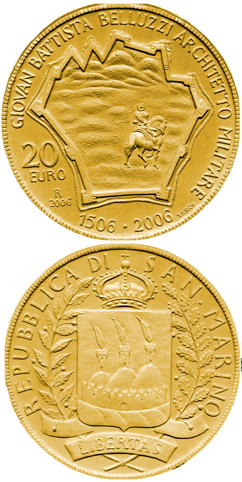 Image of 20 euro coin - 500th Anniversary of Giovan Battista Belluzzi | San Marino 2006.  The Gold coin is of Proof quality.