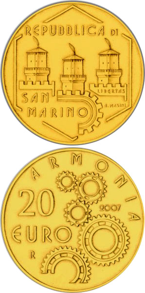 Image of a coin 20 euro | San Marino | Social Cohabitation | 2007