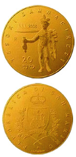Image of Finds of the Villanovian and Roman Civilizations  – 20 euro coin San Marino 2008.  The Gold coin is of Proof quality.