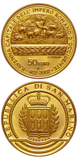 50 euro coin 1600th Anniversary of the Proclamation of Ravenna as Capital of the Western Roman Empire  | San Marino 2002