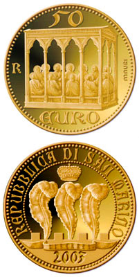Image of 50 euro coin - The Scrovegni Chapel by Giotto | San Marino 2003.  The Gold coin is of Proof quality.