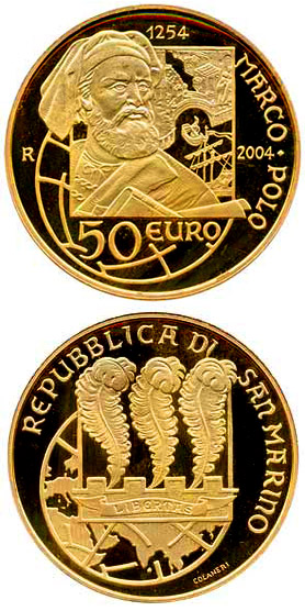 Image of 50 euro coin 750th Anniversary of the Birth of Marco Polo | San Marino 2004.  The Gold coin is of Proof quality.