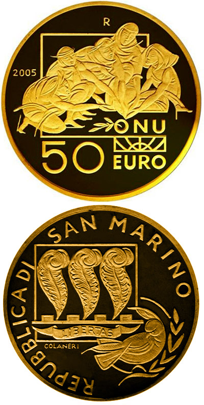 Image of 50 euro coin - International Day of Peace | San Marino 2005.  The Gold coin is of Proof quality.