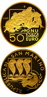 50 euro coin International Day of Peace | San Marino 2005