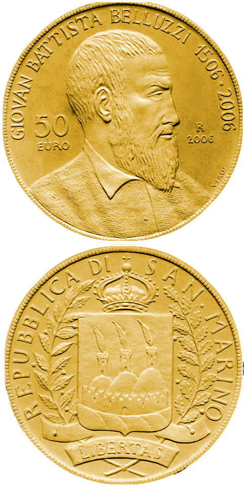 Image of 50 euro coin – 500th Anniversary of Giovan Battista Belluzzi | San Marino 2006.  The Gold coin is of Proof quality.