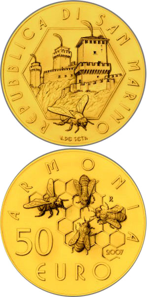 Image of 50 euro coin Social Cohabitation | San Marino 2007.  The Gold coin is of Proof quality.