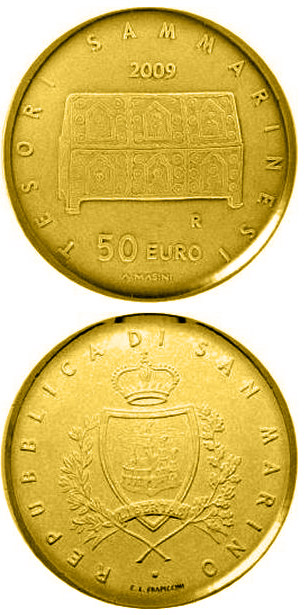 Image of 50 euro coin – Treasures of San Marino  | San Marino 2009.  The Gold coin is of Proof quality.