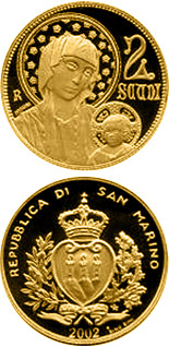 2 scudi 700th Anniversary of the Death of Cimabue  - 2002 - Series: Gold 2 scudi coins - San Marino
