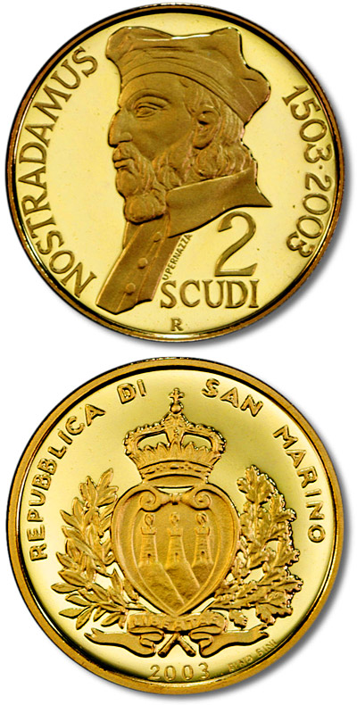 Image of a coin 2 scudi | San Marino | 750th Anniversary of the Birth of Michele Nostradamus | 2003