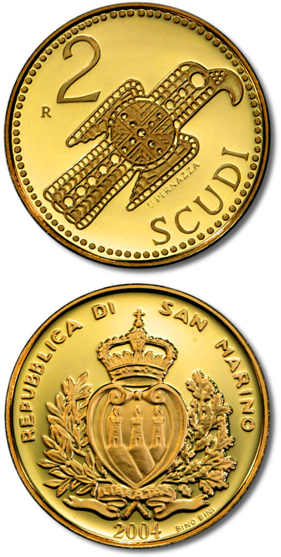 Image of Gothic eagle brooch  – 2 scudi coin San Marino 2004.  The Gold coin is of Proof quality.