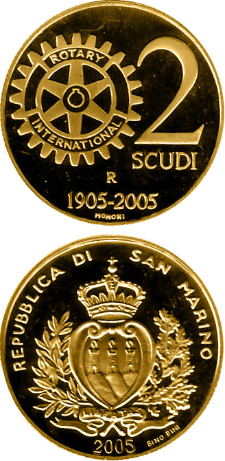 Image of 100th anniversary of Rotary  – 2 scudi coin San Marino 2005.  The Gold coin is of Proof quality.