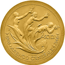 2 scudi 100th Anniversary of the General Arengo - 2006 - Series: Gold 2 scudi coins - San Marino